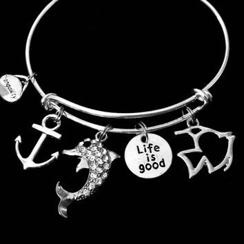 Crystal Dolphin Nautical Expandable Charm Bracelet Life is Good Silver Adjustable Wire Bangle Trendy One Size Fits All Gift Anchor Tranquility