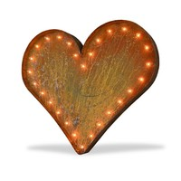 "36"" Large Heart Vintage Marquee Sign with Lights (Rustic)"