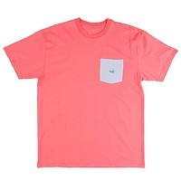 Stewart Seersucker Pocket Tee in Coral Red w/ Blue by Southern Marsh