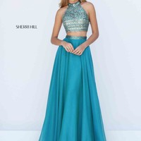 Sherri Hill Two Piece Beaded Prom Dress 50096