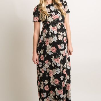 Black Floral Print Short Sleeve Maternity Maxi Dress