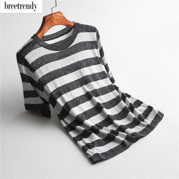 J6080  fashion women brief color block striped print shiny thread casual knitted t shirt ladies summer meryl knit tee tops