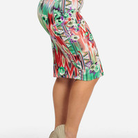 High Waist Pencil Skirt In Floral Aztec Print