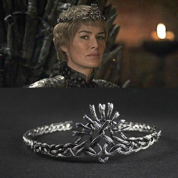 Winter Game of Thrones GOT  Season7 Cersei Lannister Crown Hair Bands Cosplay White Silver Plated Vintage Headbands Wedding Hair Accessories AT_77_7