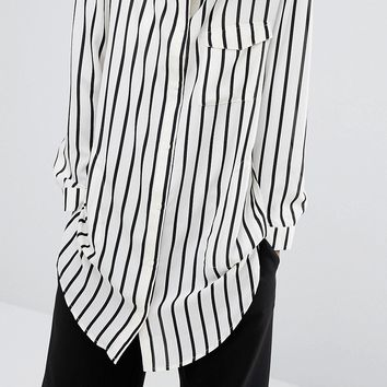 Monki Mono Stripe Shirt