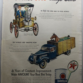 Vintage 1945 Havoline Motor Oil Texaco Horse Cartoon Ad Advertising Man Cave Wall Art Decor