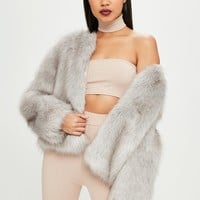 Missguided - Carli Bybel x Missguided Gray Faux Fur Jacket