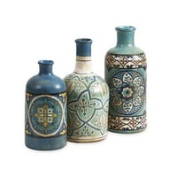 Hand Painted Mercado Bottles - Set of 3