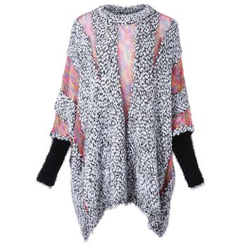 Batwing Sleeves Round Neck Openwork Knitting Splicing Polar Fleece Loose-Fitting Casual Women's Knitwear