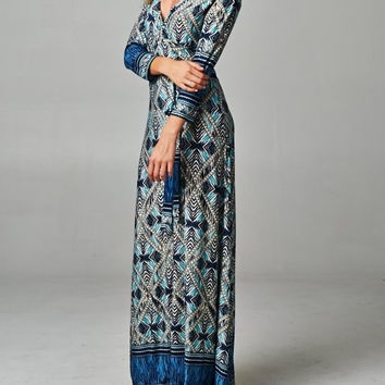 Eliza Bella for Tua Maxi Dress Boho Hippie Blue Multi Faux Wrap Bodice SML