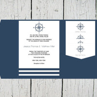 Compass Pocket Wedding Invitation Template Set - Navy Compass Striped DIY Printable Editable PDF Templates Instant Download - DIY You Print