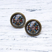 Antique Compass Stud Earrings