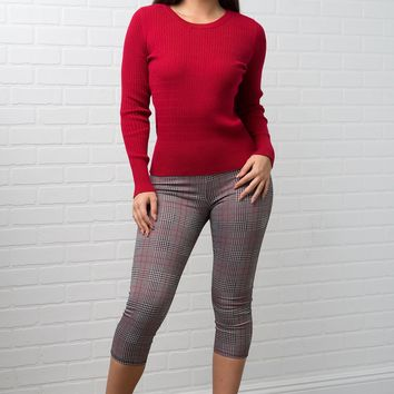 Ava Crop Pants -Grey & Red