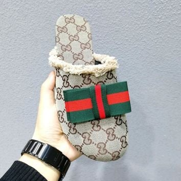 Gucci New Style Fashion Women Casual Canvas Red Green Stripe Bowknot Half Sandal Slippers Shoe Beige