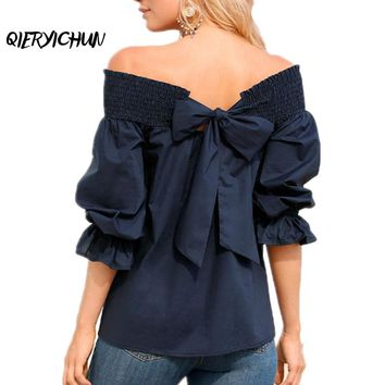 Women's Slash Neck Loose Fit Off-Shoulder Butterfly Sleeve