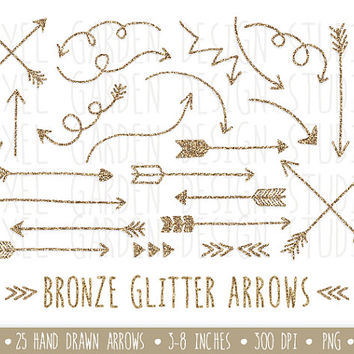 Bronze Glitter Arrows Clip Art Set. Hand Drawn Arrows Clipart. Glitter Doodle Arrows. Tribal Arrow Images. Valentine's Day Arrow Clipart.