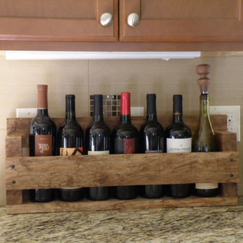 Spalted maple wine rack rustic cabin beach house bottle kitchen display holder