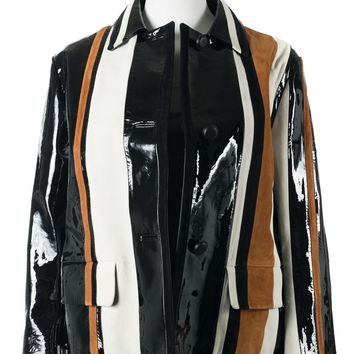 Prada Womens Colorblock Suede Patent Leather Striped Jacket