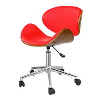 Red Mid-Century Modern Mid-Back Contemporary Office Chair