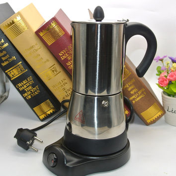 1PC $ Cups Counted Espresso Coffee Maker Stainless steel Electrical Moka Pot 220V Euro Plug