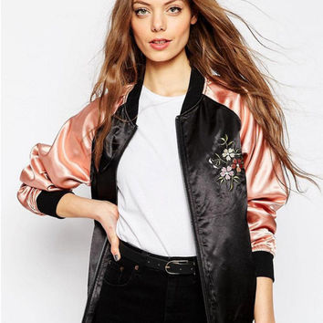 Pink Sequined Floral Embroidery Jacket