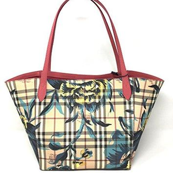 Burberry The Small Canter in Peony Rose Print Haymarket Check Plumpink/Pewtr Blue