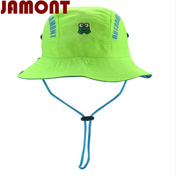 [JAMONT]cartoon children summer hat kid Quick dry bucket hat wide brim fishing cap for girl boy beach sun panama with string
