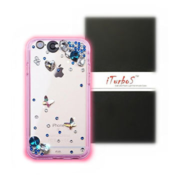iTurboS™ 2016 Classic Bling Bow Butterfly Rhinestone Clear LED Incoming Call Flash Light Case Cover For Apple iPhone (9 Color in 1 Case) (Samsung Galaxy S6, Blue Butterfly)