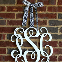 Wooden 3 Letter Vine Monogram Front Door Hanger - Window Hanger -Wall Hanger - Wedding Decor