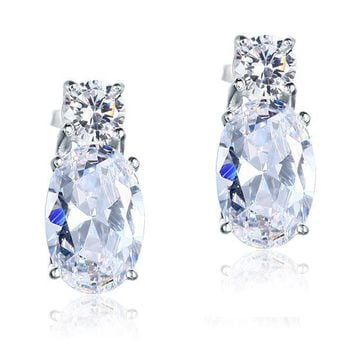 4 Carat Oval Cut Simulated Diamond Solid 925 Sterling Silver Stud Earrings Jewelry