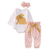 Cute Newborn Baby Girl Clothes 3PCS Infant