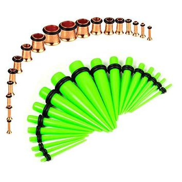 BodyJ4You Gauges Kit Neon Green Tapers Rose Gold Plugs Steel 14G-00G Stretching Set 36 Pieces