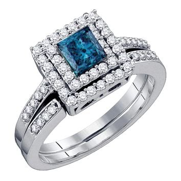 14kt White Gold Womens Princess Blue Color Enhanced Diamond Square Halo Bridal Wedding Engagement Ring Band Set 7/8 Cttw