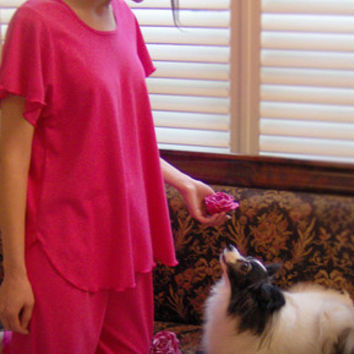 Hot Pink Short Sleeve Top & Palazzos Cotton Interlock, Made In The USA   Simple Pleasures, Inc.