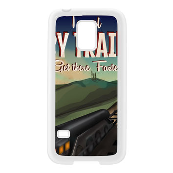 Travel by train White Silicon Rubber Case for Galaxy S5 Mini by Nick Greenaway