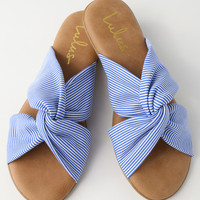 Santana Blue Striped Slide Sandals