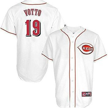 Joey Votto Cincinnati Reds #19 Majestic Men's White Replica Jersey Big Sizes