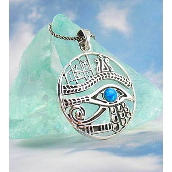 Richly Detailed Eye of Horus Necklace with Hieroglyphics