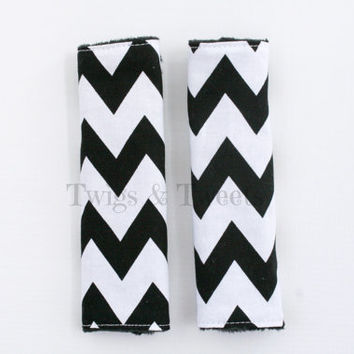 Reversible CAR SEAT STRAP covers- Black and White Chevron- Black Minky