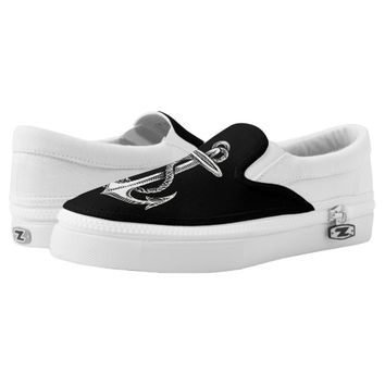 Vintage White Anchor Black Shoes Printed Shoes