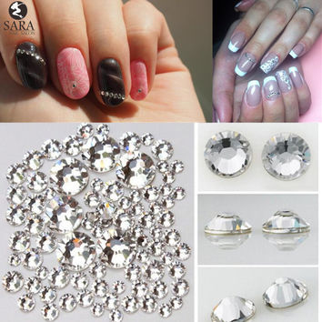 1440pcs Crystal Nail Art Rhinestone SS3-SS10 Glass Clear Flatback Non Hot Fix Rhinestone glue on for Nail Art Phone DIY NRS01