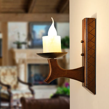 Retro Vintage Southeast Aisa Exotic Creative Wood Iron Led E14 Candle Wall Lamp For Living Room Aisle Corridor Entrance 1124