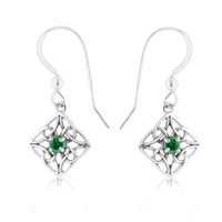 Emerald & Sterling Silver Celtic Knot Diamond-Shaped Drop Earrings
