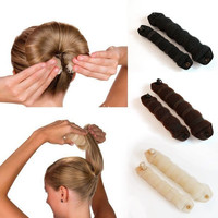 2pcs/pack 2016 New Beauty Fashion Sponge Hair Styling Donut Bun Maker Magic easy using Former Ring Shaper Style Tools a2