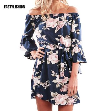 Summer Floral Blouse Shirt Women off the shoulder Tops Chiffin Shirts Blouses Beach flared Blusas Femininas DT07