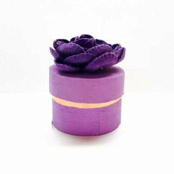 Miniature Wooden Gift Box, Purple Flower, Jewelry Holder, Gift for Her