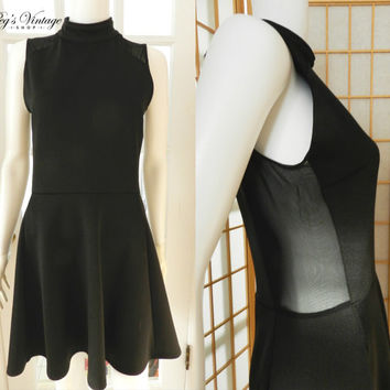 Vintage Black Mini Dress, Mesh Cut Out Dress, Grunge 90's Fashion, Size 8 Black Dress