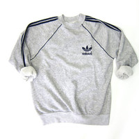 Vintage 80s ADIDAS Trefoil Raglan Sweatshirt 70s Adidas Heather Grey Sports Sweatshirt Streetwear Swag Gray Striped Sweatshirt Large