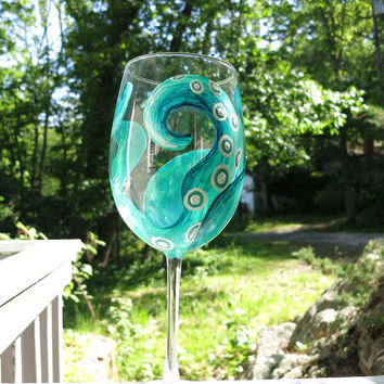 Hand painted octopus tentacle wine glass