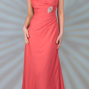 CLEARANCE - Long Mother of Bride Coral Dress Chiffon Short Sleeves